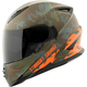 Orange/Green Straight Savage SS1600 Helmet