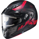 Semi-Flat Black/Red CL-Max2SN Friction MC-1SF Helmet w/Framed Electric Shield