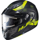 Semi-Flat Black/Hi-Viz CL-Max2SN Friction MC-3HSF Helmet w/Framed Electric Shield