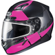 Semi-Flat Black/Pink CL-17SN Boost MC-8SF Helmet w/Frameless Dual Lens Shield
