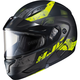 Semi-Flat Black/Hi-Viz CL-Max2 Friction MC-3HSF Helmet w/Framed Dual Lens Shield