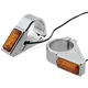 Chrome 39mm Fork Mount Rectangle LED Turn Signals - 05-300-3