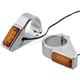 Chrome 49mm Fork Mount Rectangle LED Turn Signals - 05-302-3
