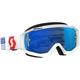 White/Red Hustle MX Goggles w/Blue Chrome Lens - 262592-1030278