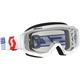 White/Red Hustle MX Goggles w/Clear Lens - 262592-1030113