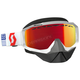 White/Red Hustle Snowcross Goggles w/Amp Red Chrome Lens - 262582-1030312