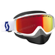 White/Red Split OTG Snowcross Goggles w/Amp Red Chrome Lens - 262586-1030312