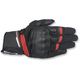 Black/Red Booster Leather Gloves
