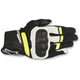 Black/White/Fluorescent Yellow Booster Leather Gloves