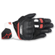 Black/White/Red SP-5 Leather Gloves
