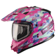 Pink GM11S Checked Out Snowmobile Helmet w/Dual Lens Shield