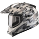 White/Gray GM11S Checked Out Snowmobile Helmet w/Dual Lens Shield