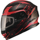 Black/Red MD01 Wired Modular Snowmobile Helmet w/Dual Lens Shield