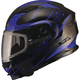 Black/Blue MD01 Wired Modular Snowmobile Helmet w/Dual Lens Shield