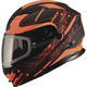 Black/Hi-Vis Orange MD01 Wired Modular Snowmobile Helmet w/Dual Lens Shield
