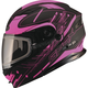 Black/Pink MD01 Wired Modular Snowmobile Helmet w/Dual Lens Shield