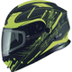 Black/Hi-Vis Yellow MD01 Wired Modular Snowmobile Helmet w/Electric Shield
