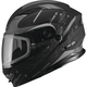 Flat Black/Silver MD01 Wired Modular Snowmobile Helmet w/Electric Shield