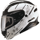 Flat Black/White MD01 Wired Modular Snowmobile Helmet w/Electric Shield
