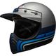 Matte Silver/Black/Blue Moto-3 Stripes Helmet