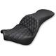 Black Explorer Lattice Stitch Touring Seat w/o Backrest - 818-30-029LS