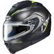 Semi-Flat Black/Hi-Viz Green IS-Max 2 Dova MC-2SF Snow Helmet w/Electric Shield