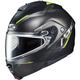 Semi-Flat Black/Hi-Viz Green IS-MAX 2 Dova MC-3HSF Snow Helmet w/Dual Lens Shield