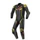 Black/Metallic Gray/Fluorescent Yellow GP Pro V3 Leather Suit Tech Air Compatible
