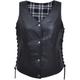 Women's Black Premium Leather Vest w/Black/White Flannel Liner