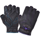 Women's Black Embroidered Purple Heart Cowhide Leather Fingerless Gloves