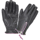 Women's Black Cowhide Leather Zip Gloves w/Pink Contrast Stitching
