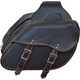Black/Antique Brown Cowhide Leather Quick Release Saddlebags w/Removable Yoke - 9350.ZP