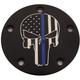 Black Blue Line Skull Low Profile Derby Cover - LE04-46BG