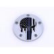 Chrome Blue Line Skull Low Profile Derby Cover - LE04-46