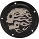 Matte Black Flaming Skull Transmission Derby Cover - 1107-0634