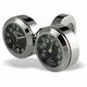 Black Face 7/8 in.-1 in. Classic Adjustable Ring Style Dual Mount Clock & Thermometer - 250302