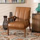 Nikko Tan Faux Leather Upholstered and Walnut Brown Finished Wood Lounge Chair