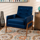 Perris Navy Blue Velvet Fabric Upholstered and Walnut Brown Finished Wood Lounge Chair