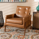 Perris Tan Faux Leather Upholstered and Walnut Brown Finished Wood Lounge Chair