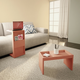Manhattan Comfort Marine Coffee and Side Table - Set of 2 in Ceramic Pink
