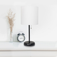 LimeLights LimeLights Black Stick Lamp with USB Charging Port and Fabric Shade 2 Pack Set, White
