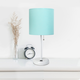 LimeLights LimeLights White Stick Lamp with USB Charging Port and Fabric Shade 2 Pack Set, Aqua
