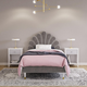 Little Seeds Monarch Hill Upholstered Twin Poppy Bed, Pink