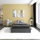 Atwater Living Micah Upholstered Platform Bed, Full, Gray Linen