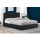 Atwater Living Elvia Upholstered Bed, Full, Black Faux Leather