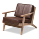 Baxton Studio Sigrid Mid-Century Modern Dark Brown Faux Leather Effect Fabric Upholstered Antique Oak Finished Wood Armchair