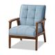 Baxton Studio Asta Mid-Century Modern Light Blue Velvet Fabric Upholstered Walnut Finished Wood Armchair