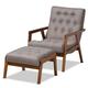 Baxton Studio Naeva Mid-Century Modern Gray Fabric Upholstered Walnut Finished Wood 2-Piece Armchair and Footstool Set