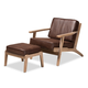 Baxton Studio Sigrid Mid-Century Modern Dark Brown Faux Leather Effect Fabric Upholstered Antique Oak Finished 2-Piece Wood Armchair and Ottoman Set