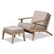 Baxton Studio Sigrid Mid-Century Modern Light Gray Fabric Upholstered Antique Oak Finished 2-Piece Wood Armchair and Ottoman Set